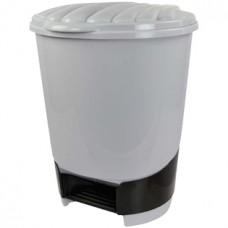 Ведро для мусора с педалью пластмассовое серое, 10 л, 27,8х26,5х34 см